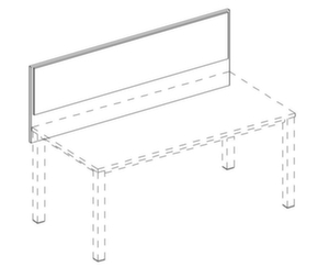 Trennwand,Frontelement,f. Schreibtisch,B 1800mm,Holz,Benutzerseite Stoff,NT-Cherry,BN1005-beige